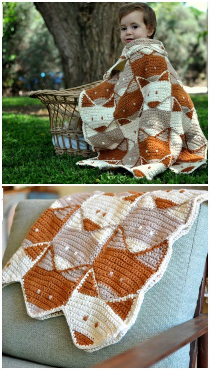 Fox baby blanket crochet pattern.  Fox afghan blanket.  Love these foxy motifs in this crochet blanket!