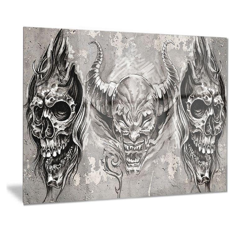 Designart '3 Demons Tattoo Sketch' Portrait Digital Art