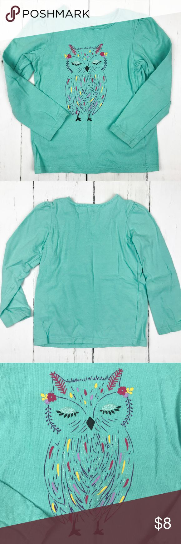 Girls Long Sleeve Owl Tshirt Size 5T This turquoise long sleeve t-shirt has an owl print on the front. The shirt has a little looser fit depending on your child and is a great basic! Lightweight, this shirt can easily be layered or worn with leggings or a skirt.   From Falls Creek. Size 5T. 100% Cotton. Machine wash cold with like colors, delicate cycle. Tumble dry low. Shirts & Tops Tees - Long Sleeve