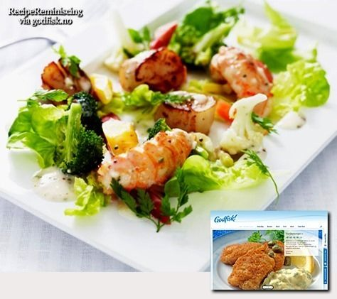 Grilled Scallops and Crayfish with Hot Salad / Grillet Kamskjell og Sjøkreps med Varm Salat