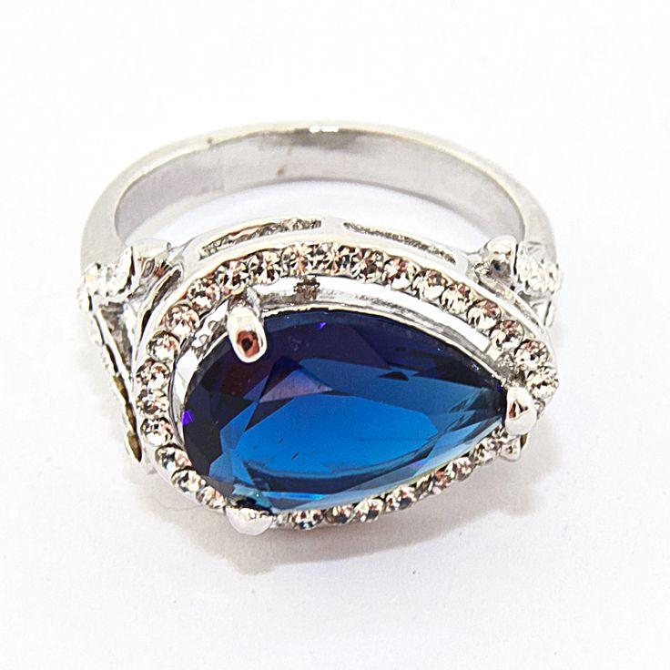 """Кольцо """"Blue Drop"""", бижутерный сплав, крупный синий кристалл, beauty-mix.com.ua"""