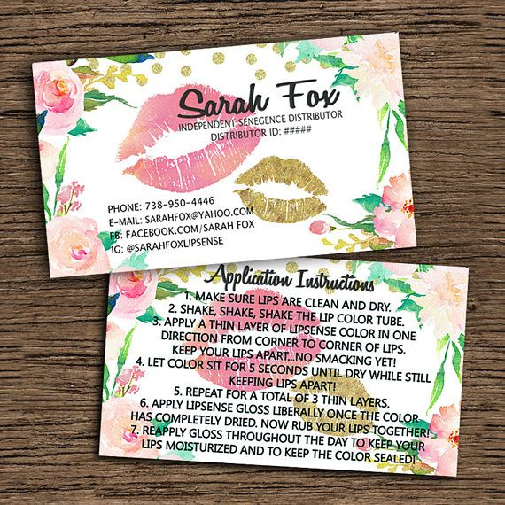 LipSense Business Card And Application Instruction Card lips