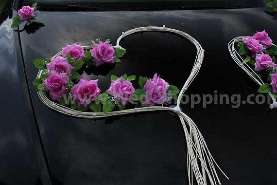 Autoschmuck Hochzeit mauve Rosen Rattan Herzen von BridalJackets