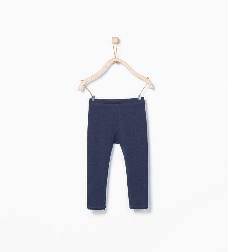 Imagem 1 de Leggings algodão orgânico pormenor renda da Zara