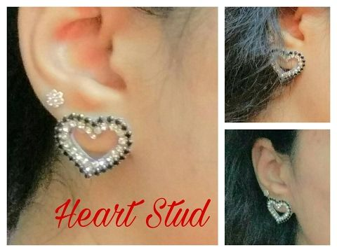 How To Make paper base  Heart Shape Earring Stud (Valentine's day Special) At Home - Tutorial - YouTube