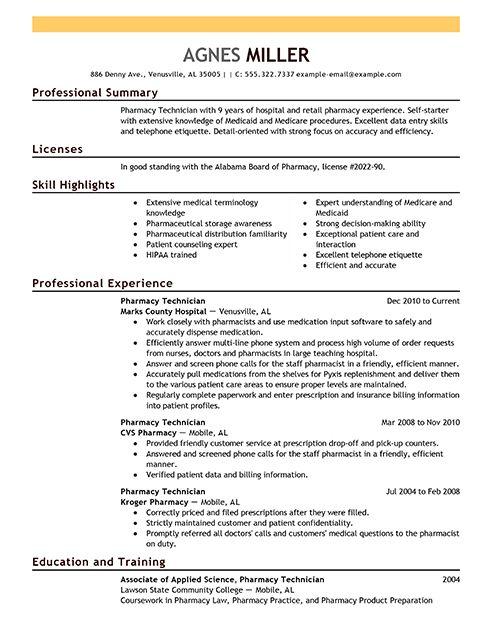 pharmacy technician resume examples