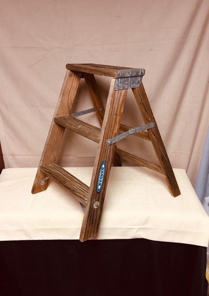 Small 2 Step Shabby Wooden Ladder