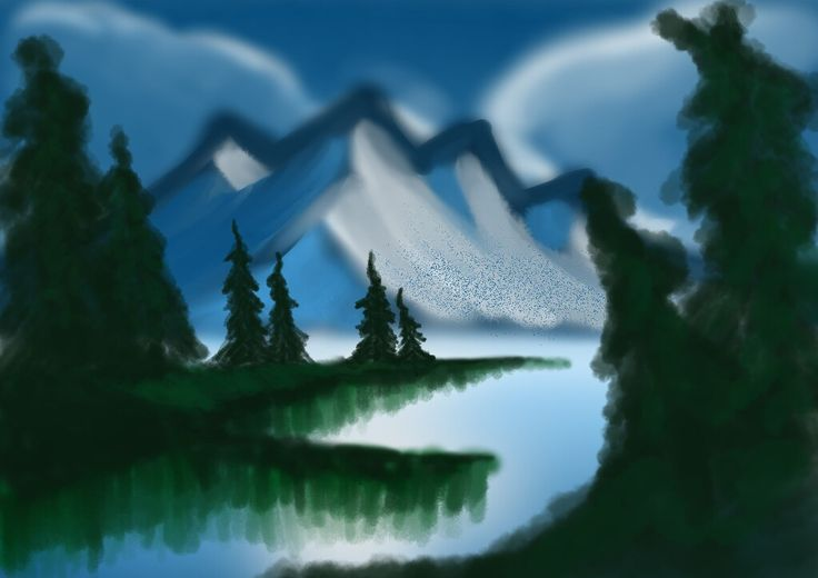He tried to draw Bob Ross painting ^^ Created by Keegan #digital #artwork #painting #scenery