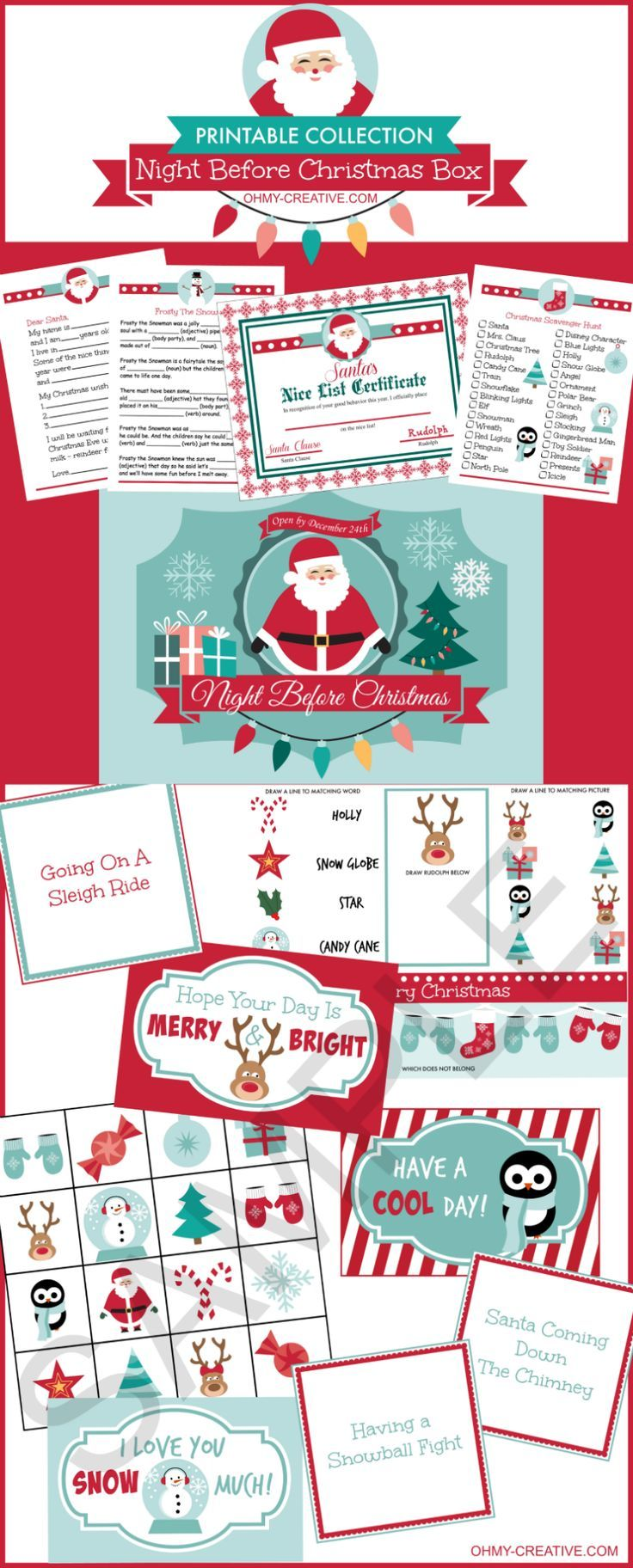 "From toddlers to teens start a new family tradition on Christmas Eve with this Night Before Christmas Box Printable Collection! Includes 18 Christmas Themed activity sheets, lunch box notes, games, Santa letter, ""Nice List"" certificate and an adorable printable label for the Christmas Eve box! Fun for all ages!"