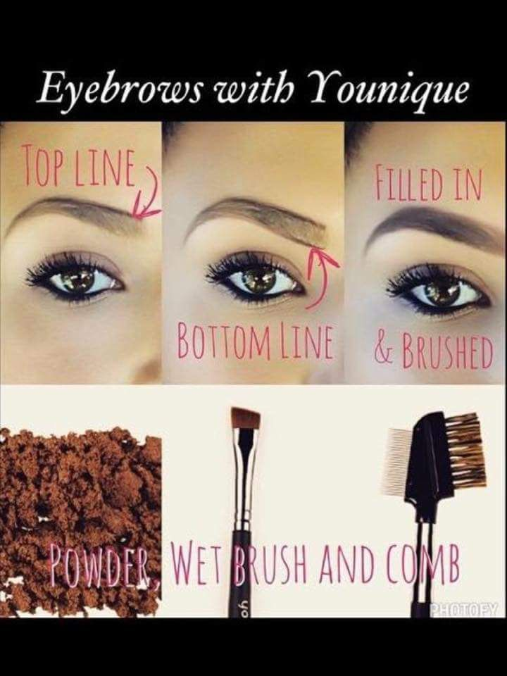 Fill your eye brows with Younique using mineral eye pigment that best suits you, angled brush, and comb for best results.  www.GlamorousLashesbyIrene.com