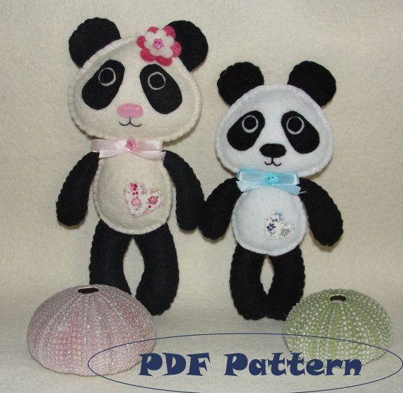 Cute Felt Panda Pattern Doll Pattern Panda Bear by NitaFeltThings
