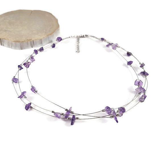 Gemstone choker necklace Amethyst jewelry by DSNatureetCreation https://www.etsy.com/listing/386427198/gemstone-choker-necklace-amethyst