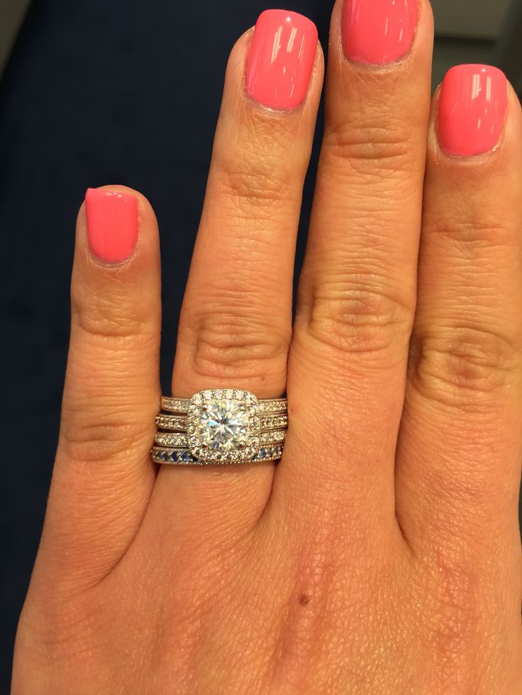 stackable wedding bands with halo engagement ring
