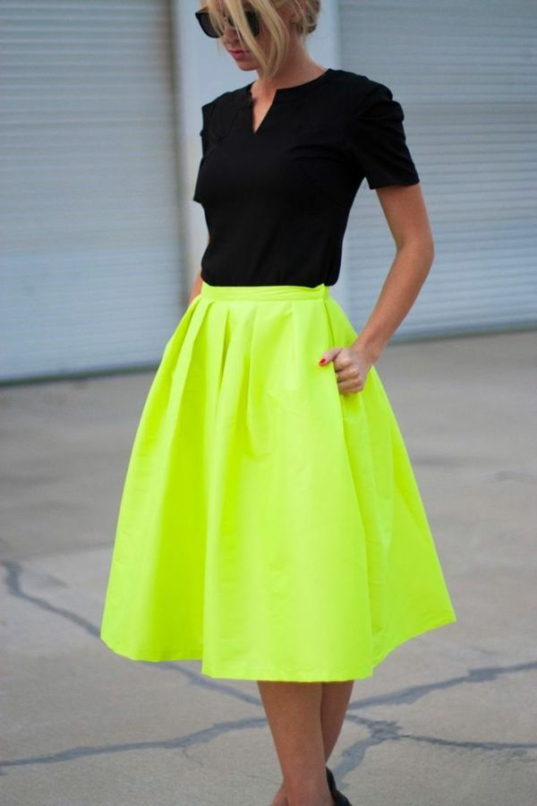 jupe corolle, couleur néon vert, jupe midi