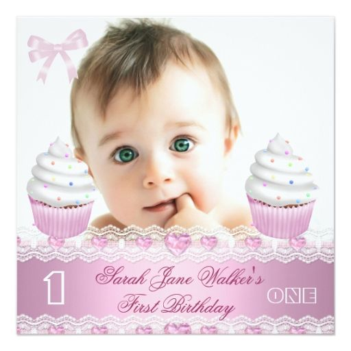 1860 best Baby Girls 1st Birthday Party Invitations images on - invitation card for ist birthday
