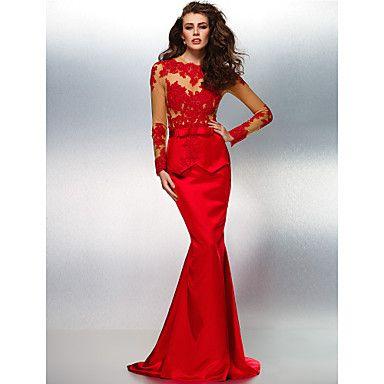 Fiesta formal Vestido - Rojo Corte Sirena Barrer / cepillo tren - Escote Joya Encaje/Satén Elástico – MXN $ 2,842.21