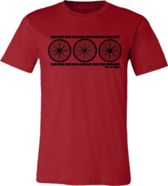 "Bicycle T-shirt ""Chain Reaction"" Road Bike Mountain Bike Wheels in Red"