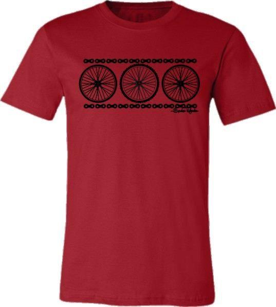 "Bicycle T-shirt ""Chain Reaction"" Road Bike Mountain Bike Wheels in Red"