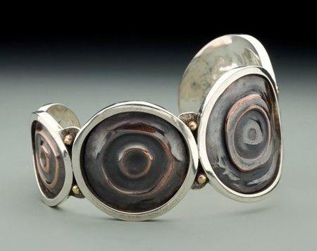 Fold Form Copper & Sterling Cuff Bracelet Bailey's Art Jewelry