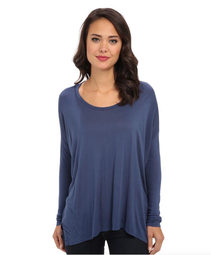 VELVET By Graham & Spencer Charita Long Sleeve Boxy Drapey Loose Top Blue S $118  | eBay