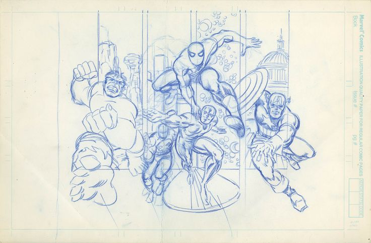MARVEL STORE BAG DESIGN PRELIMINARY ILLUSTRATION  RON FRENZ - W.B.