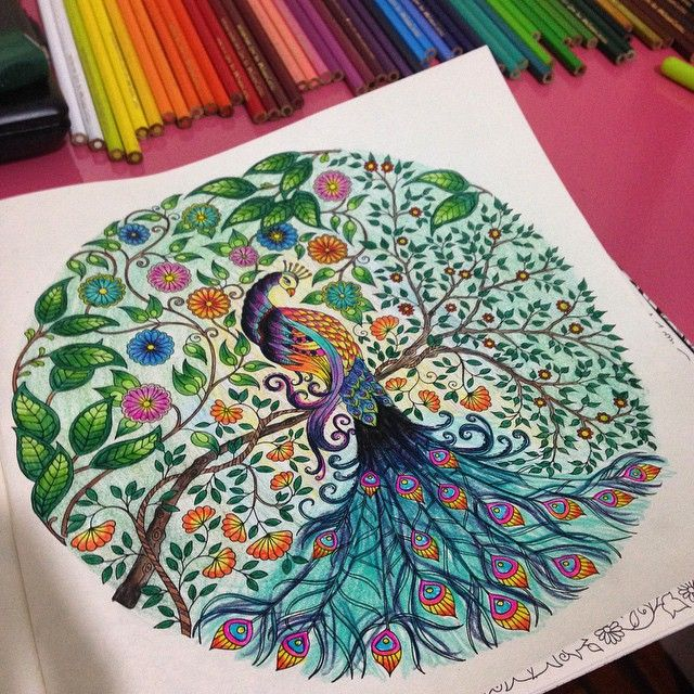 28 best images about coloring johanna basford peacock on for Peacock crafts for adults