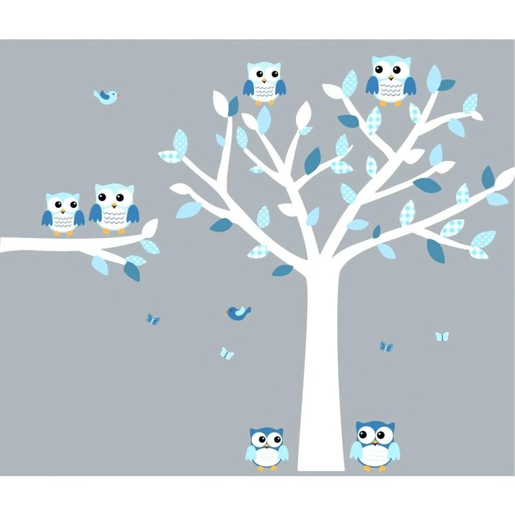 Nursery Owl Wall Decals Blue And White Owl Decal With Large Tree Decal For  Boys Blue
