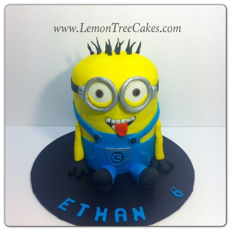 """Minion cake in chocolate mud cake!  """"Minion cake"""" by www.lemontreecakes.com"""