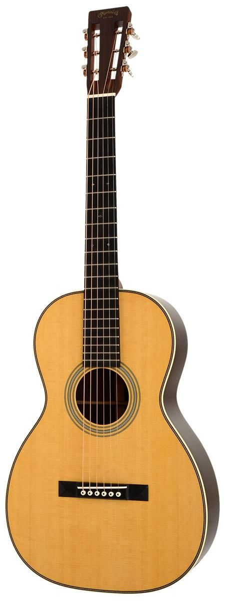 Martin 0-28VS.  The shape of this acoustic guitar is inspired by the paror guitars that were prevalent from the 1870s to the early 1930s. It sports a Solid Sitka Spruce top and Solid East Indian Rosewood back & sides.  For a detailed guide to Parlor Guitars see https://parlor.guitars/blog/roundup-best-parlor-guitars