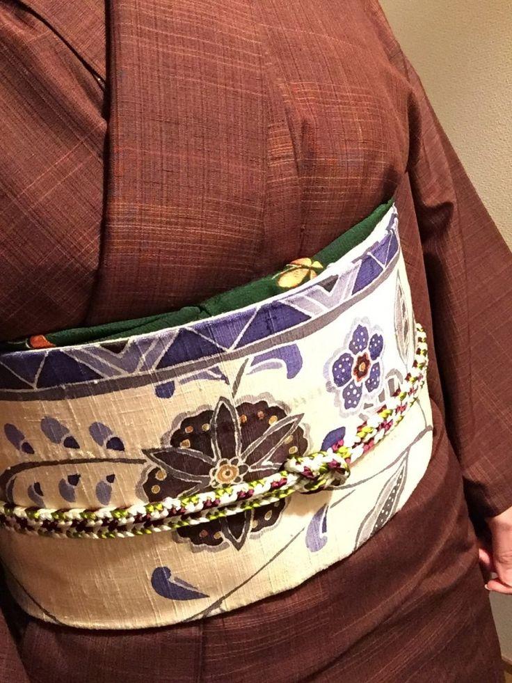 着物コーディネート(普段着篇) 紬の着物に更紗柄の帯を合わせて!