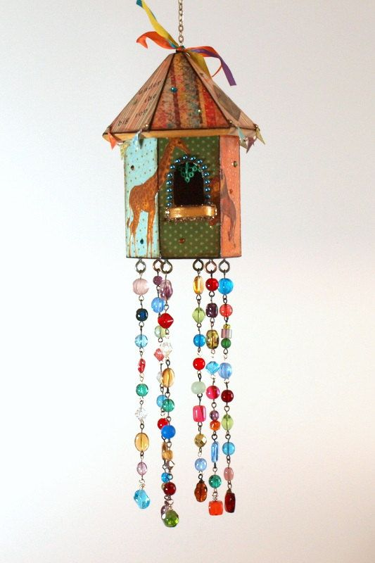 Birdhouse Suncatcher Circus Animal Circus Theme Beaded Mixed Media Bohemian Boho Childs Room Outdoor Decor Garden Decor on Etsy, Sold