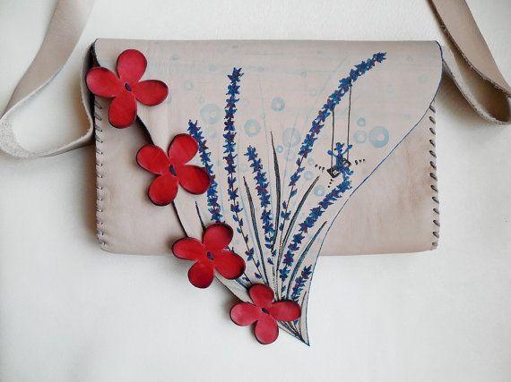 Lavender bag Red flowers bag Lavender purse Beige by spiculdegrau