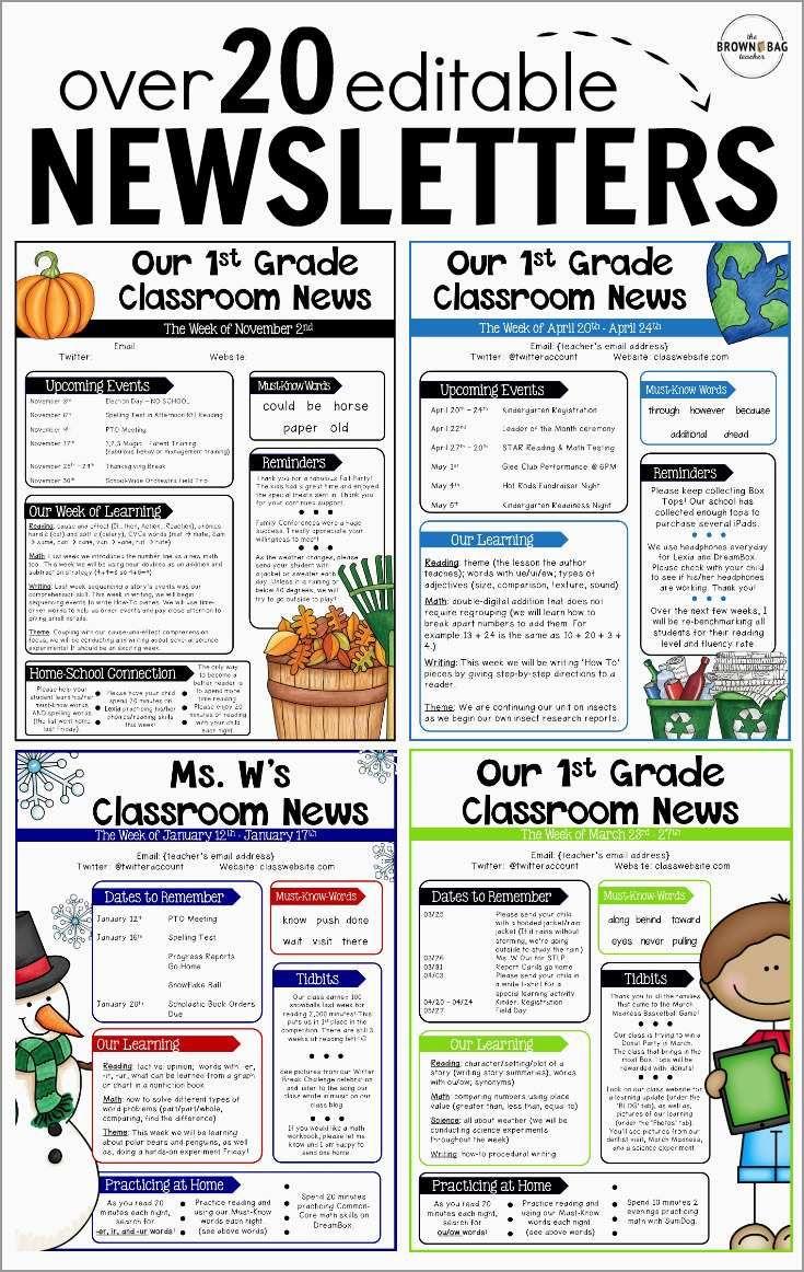 Free Editable Newsletter Templates For Teachers Admirably Editab Classroom Newsletter Template Elementary School Newsletter Template School Newsletter Template News letter template for teachers