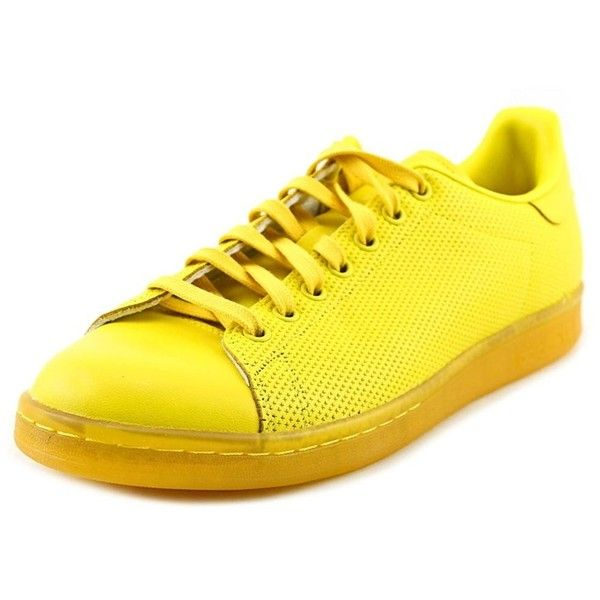 Adidas Adidas Stan Smith Men Round Toe Leather Yellow Sneakers ($65) ❤ liked on Polyvore featuring men's fashion, men's shoes, men's sneakers, shoes, yellow, mens sneakers, adidas mens shoes, mens leather sneakers, mens leather shoes and adidas mens sneakers