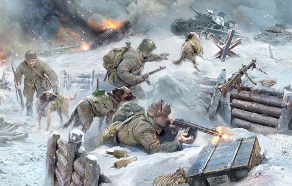 Обои арт, истребители, танков, с, собаками картинки на рабочий стол, раздел оружие - скачать