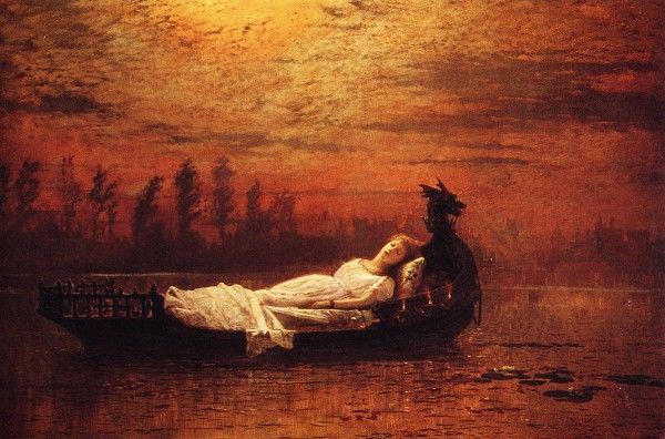 """  Heard a carol, mournful, holy,  Chanted loudly, chanted lowly,  Till her blood was frozen slowly,  And her eyes were darkened wholly,      Turn'd to tower'd Camelot."" (painting: Atkinson Grimshaw)"