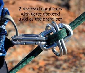 Rappelling device with only carabiners