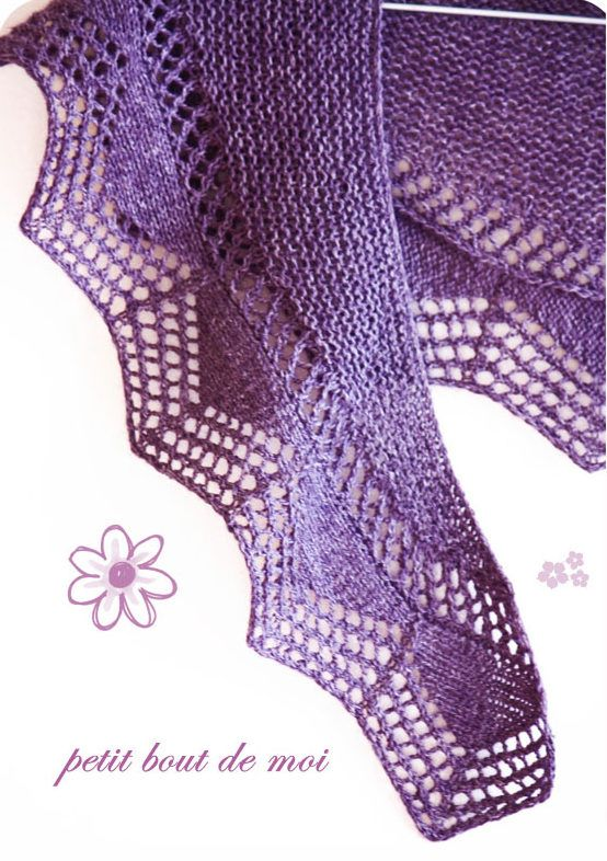 Free Knitting Pattern for One Skein Cassis Shawlette - Lovely lace shawl with an eyelet zigzag border. The original project used one skein of fingering yarn – 383 yards – but there is a larger size version. Available in English and French. Designed bycollete audrey.