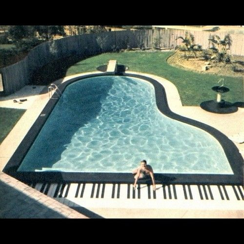 Pin if you think it would be BOSS to swim in piano shaped swimming pool | #summer | @bebossco
