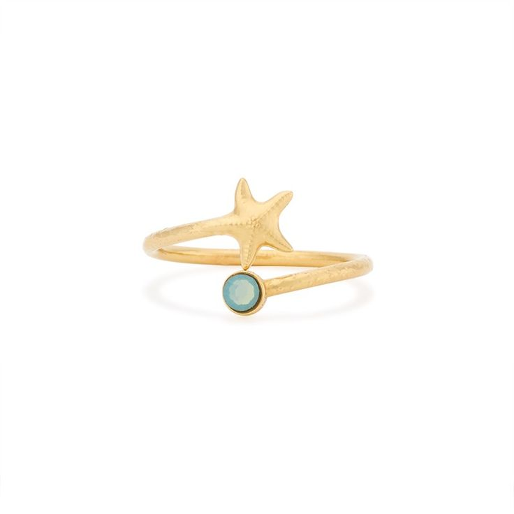 "Starfish Ring Wrap (gold) (ALEX AND ANI) [""Starfish are the sensitives of the ocean. Covered with sensory fingers, these extreme feelers remind us to touch the world around us.""]"