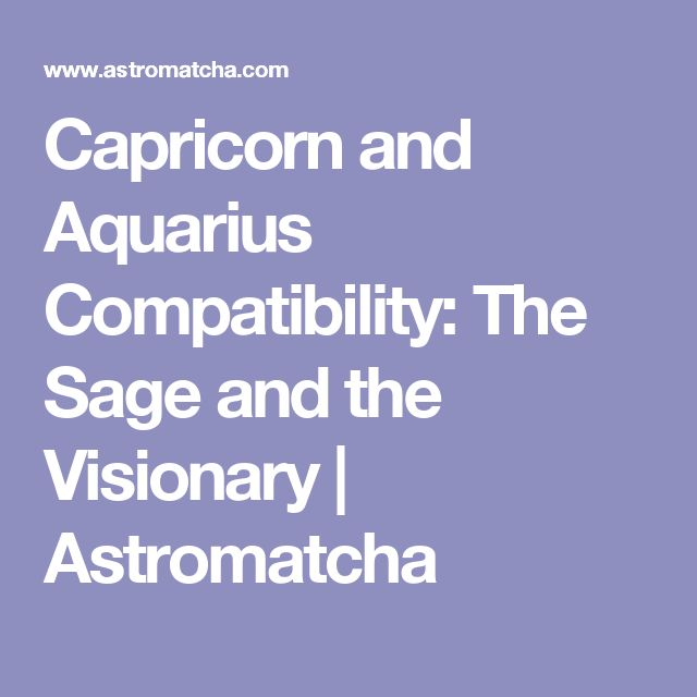 Capricorn and Aquarius Compatibility: The Sage and the Visionary   Astromatcha