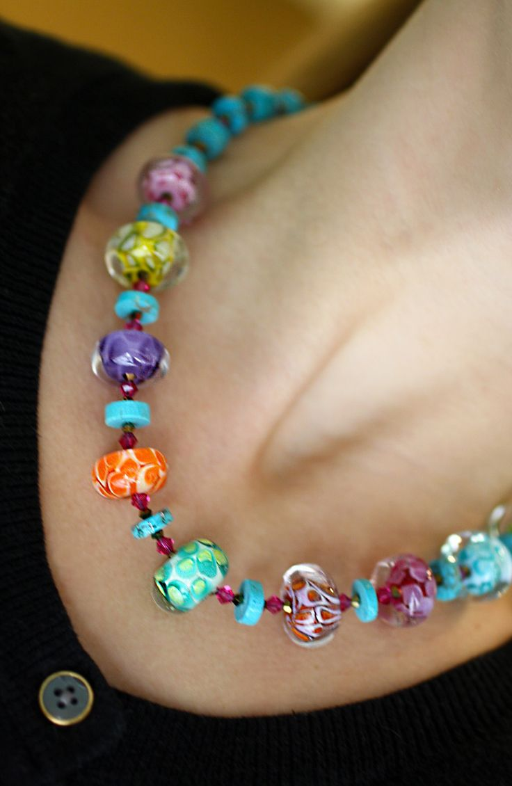 Bold Colorful Glass Beads Crystals And Turquoise An