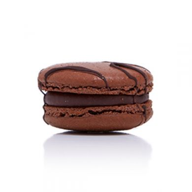 Bitter Chocolate Macaron. Chocolate shells with a 70% cocoa Belgium chocolate ganache
