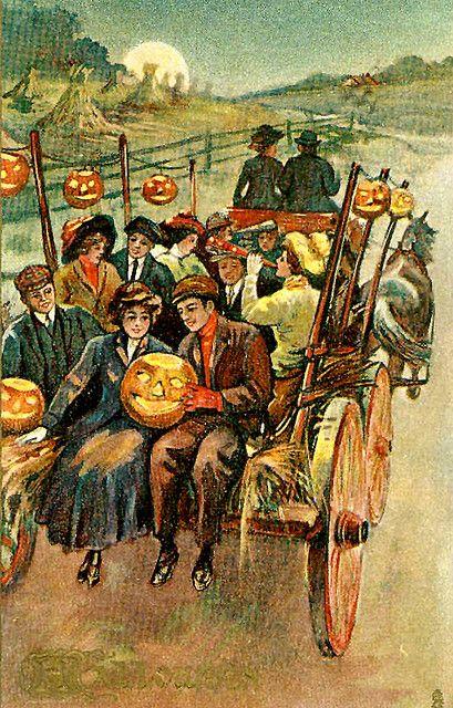Halloween Hayride--Vintage Halloween Postcard