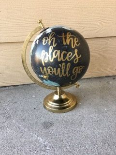 Oh The Places You'll Go | Custom Globe | Hand Lettered Globe | Dr. Seuss | Nursery Decor | Baby Shower Decor | Travel | Adventure by LairdandBrie on Etsy https://www.etsy.com/listing/490744318/oh-the-places-youll-go-custom-globe-hand