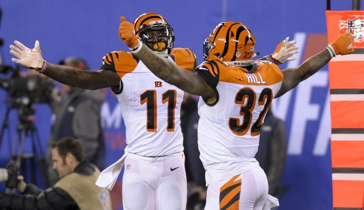 Giants vs. Bengals  -  21-20, Giants  -  November 14, 2016  -    Cincinnati Bengals running back Jeremy Hill (32) celebrates with wide receiver Brandon LaFell (11) after scoring a touchdown against the New York Giants during the third quarter of an NFL football game, Monday, Nov. 14, 2016, in East Rutherford, N.J. (AP Photo/Bill Kostroun)