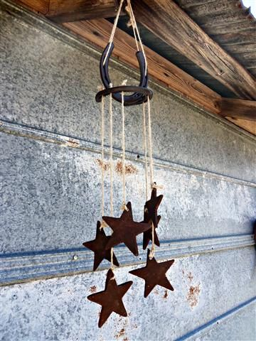 Rusty star horseshoe windchime by RustinRose on Etsy