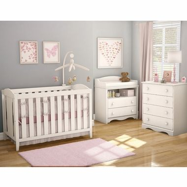 southshore 3 piece nursery set savannah crib changing table and 4 drawer chest in pure white. Black Bedroom Furniture Sets. Home Design Ideas