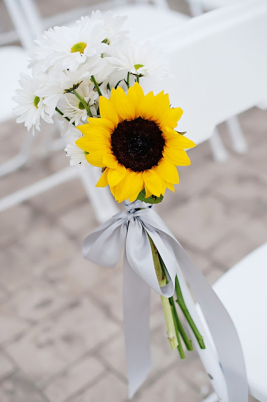 simple little chair bouquets - replace silver ribbon with tiffany blue