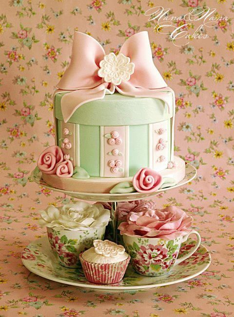 Mini Cake with Cupcakes . . . Lovely for a Little Girls' Tea Party . . .just so pretty!